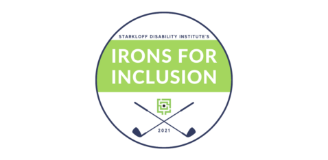 Green and blue circle logo with two crisscrossed golf clubs and text Starkloff Disability Institute's Irons for Inclusion 2021