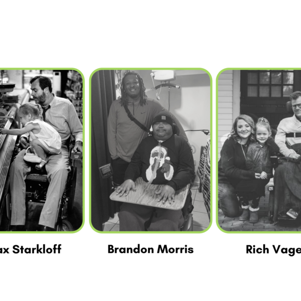 3 photos in one. First photo shows Max Starkloff and his daughter, Meghan, picking out fruit in the grocery store. Second picture is of Brandon Morris and his son Christopher. Third picture is of Rich Vagen, his wife and his daughter, Rose.