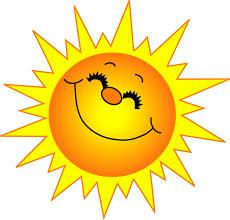 Illustrated sun with facial features smiles widely.