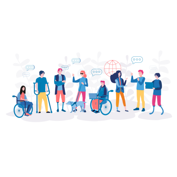 Group of illustrated figures in a line having a conversation. Some people are standing and others are seated in manual wheelchairs. There are a few people using crutches and one person who has prosthetic legs.