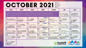 Colorful calendar for the month of October with tips listed on each day